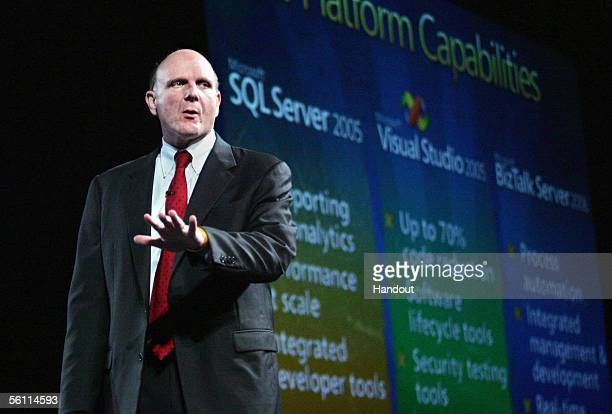 In this handout image provided by Microsoft Microsoft CEO Steve Ballmer gestures as he speaks to developers customers and the media at the launch of...
