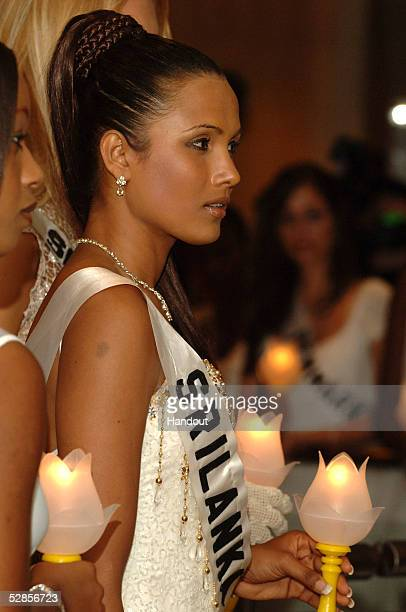 In this handout image provided by Miss Universe LP LLLP Rozanne Diasz Miss Sri Lanka Universe 2005 participates in the Global Health Council's...