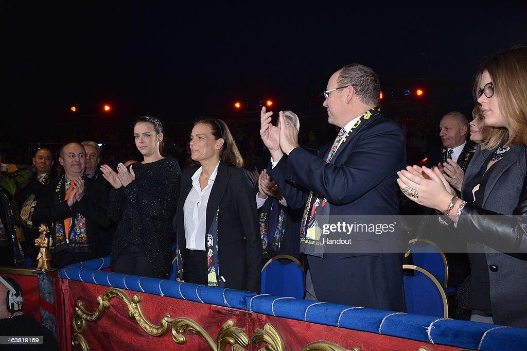 In this handout image provided by Monaco Centre de Presse, Pauline Ducruet, Princess Stephanie of Monaco, Prince Albert II of Monaco and Camille Gottlieb attend the 38th International Circus Festival on January 19, 2014 in Monte-Carlo, Monaco.