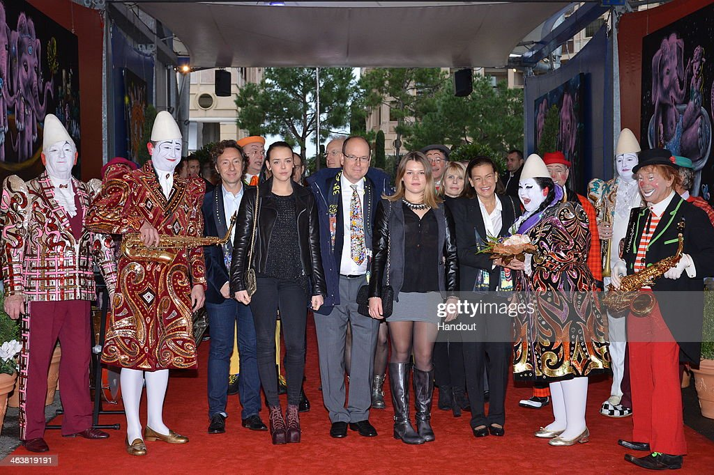 In this handout image provided by Monaco Centre de Presse, Pauline Ducruet, Prince Albert II of Monaco, Camille Gottlieb and Princess Stephanie of Monaco attend the 38th International Circus Festival on January 19, 2014 in Monte-Carlo, Monaco.