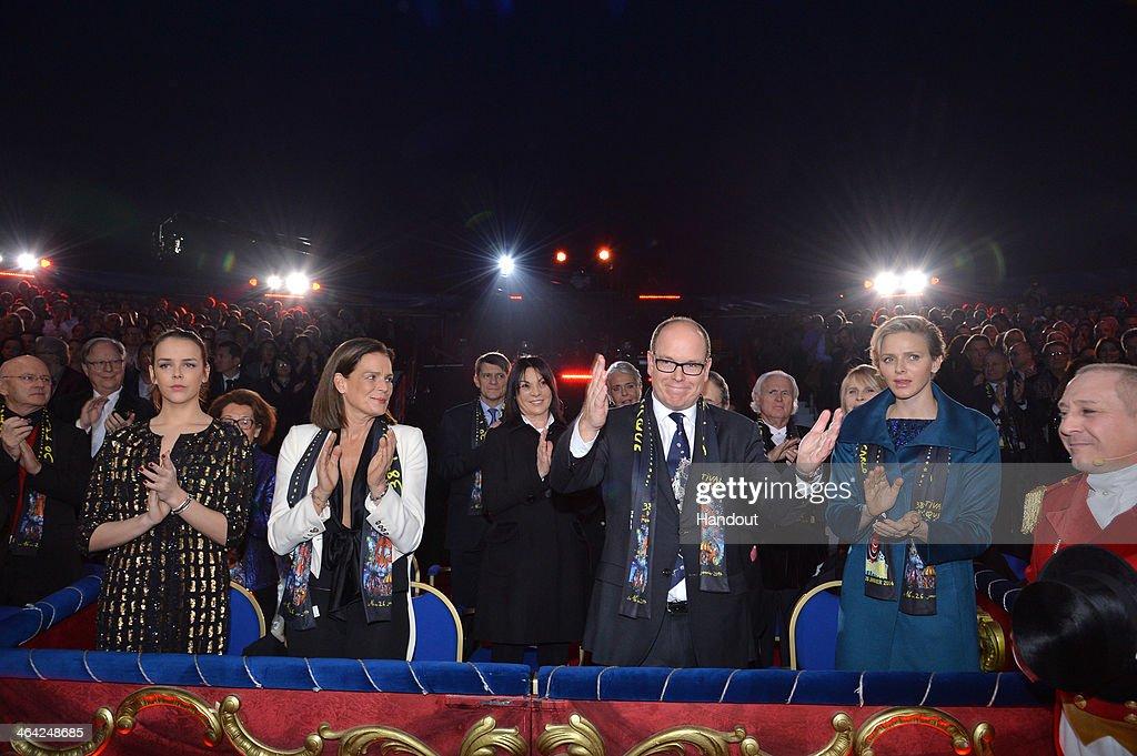In this handout image provided by Monaco Centre de Presse, (L-R) Pauline Ducruet, Princess Stephanie of Monaco, Prince Albert II of Monaco and Princess Charlene of Monaco attend the 38th International Circus Festival on January 21, 2014 in Monte-Carlo, Monaco.