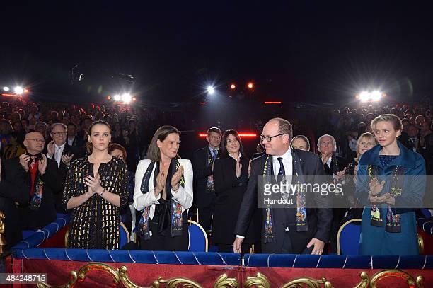 In this handout image provided by Monaco Centre de Presse Pauline Ducruet Princess Stephanie of Monaco Prince Albert II of Monaco and Princess...