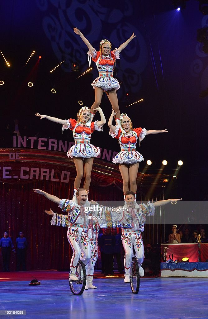 In this handout image provided by Monaco Centre de Presse, 'The Faltiny' perform during the 38th International Circus Festival on January 16, 2014 in Monte-Carlo, Monaco.