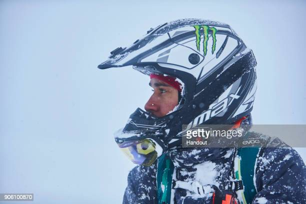 In this handout image provided by Monster Energy Fourtime F1 World Champion Lewis Hamilton rides a snowbike in January 2018 in Niseko Hokkaido Island...