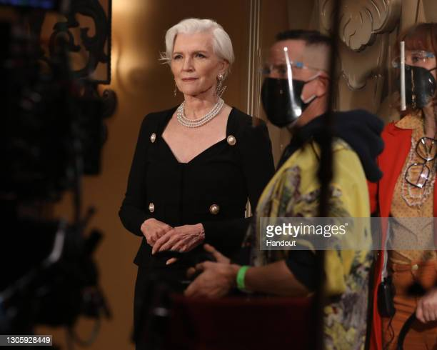 In this handout image provided by Moschino, Maye Musk poses in the backstage at the Moschino Fashion Show during the Milan Fashion Week Fall/Winter...