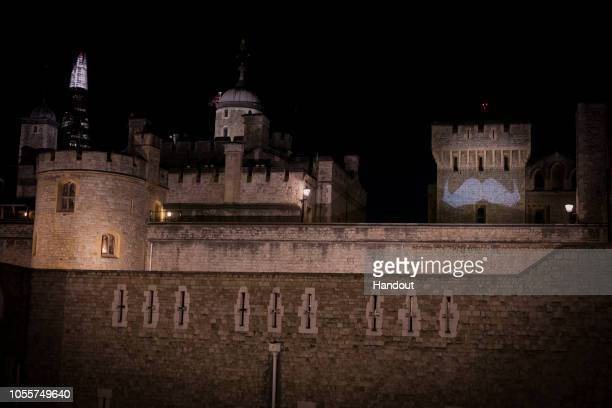 In this handout image provided by Movember A projection of a moustache is shown on The Tower of London as Movember launches the 2018 campaign to get...