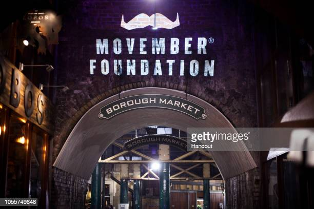 In this handout image provided by Movember A projection of a moustache is shown on the wall of Borough Market as Movember launches the 2018 campaign...