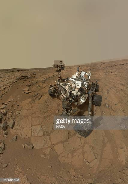 In this handout image provided by NASA a selfportrait of the Mars rover Curiosity combines dozens of exposures taken by the rover's Mars Hand Lens...