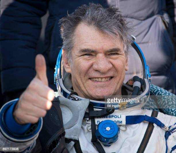 In this handout image provided by NASA, ESA astronaut Paolo Nespoli rests in a chair shortly after he and NASA astronaut Randy Bresnik, and Roscosmos...