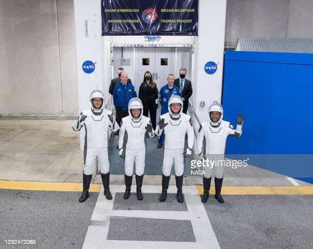 In this handout image provided by NASA, ESA astronaut Thomas Pesquet, NASA astronauts Megan McArthur and Shane Kimbrough, and Japan Aerospace...