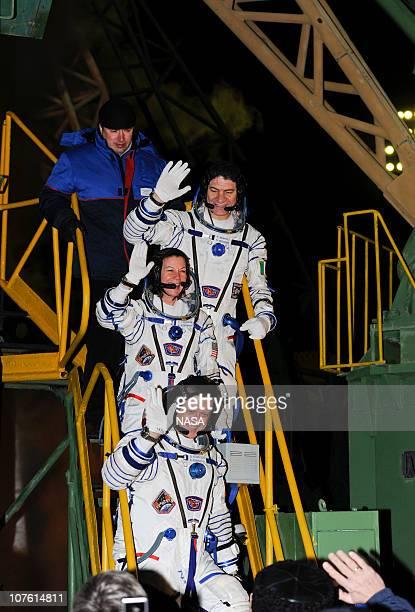 In this handout image provided by NASA, Expedition 26 crew members Soyuz Commander Dmitry Kondratyev, NASA Flight Engineer Cady Coleman and European...