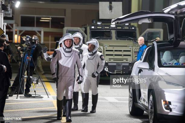 In this handout image provided by NASA, NASA astronauts Shane Kimbrough leads Japan Aerospace Exploration Agency astronaut Akihiko Hoshide and ESA...