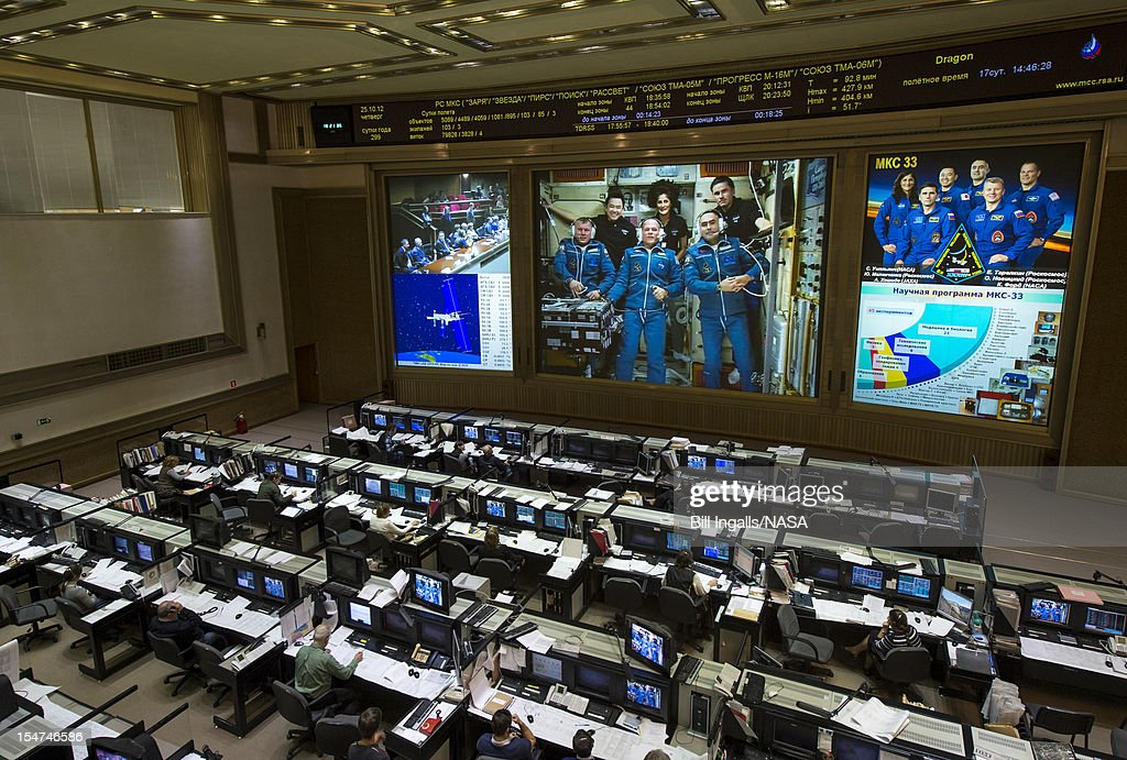In this handout image provided by NASA, newly arrived Expedition 33/34 crew members, Russian cosmonaut Oleg Novitskiy, front left, NASA astronaut Kevin Ford, front center, and Russian cosmonaut Evgeny Tarelkin, front right, are seen on a screen at the Russian Mission Control Center shortly after the three joined Flight Engineer Aki Hoshide of the Japan Aerospace Exploration Agency, back left, Expedition 33 Commander Sunita Williams of NASA, back center, and Yuri Malenchenko of the Russian Federal Space Agency October 25, 2012 in Korolev, Russia. The Soyuz TMA-06M with Expedition 33/34 crew members, NASA astronaut Kevin Ford and Russian cosmonauts Oleg Novitskiy and Evgeny Tarelkin launched from the Baikonur Cosmodrome in Kazakhstan two days ago. The Soyuz crew members will be greeted by Expedition 33 Commander Sunita Williams of NASA and Flight Engineers Aki Hoshide of the Japan Aerospace Exploration Agency and Yuri Malenchenko of the Russian Federal Space Agency, who have lived in the orbital laboratory since July.