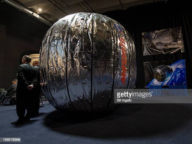 In this handout image provided by NASA, the Bigelow Expandable Activity Module is seen during a media briefing where NASA Deputy Administrator Lori...