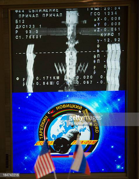 In this handout image provided by NASA the International Space Station is seen from the Soyuz TMA06M on the screen of the Russian Mission Control...