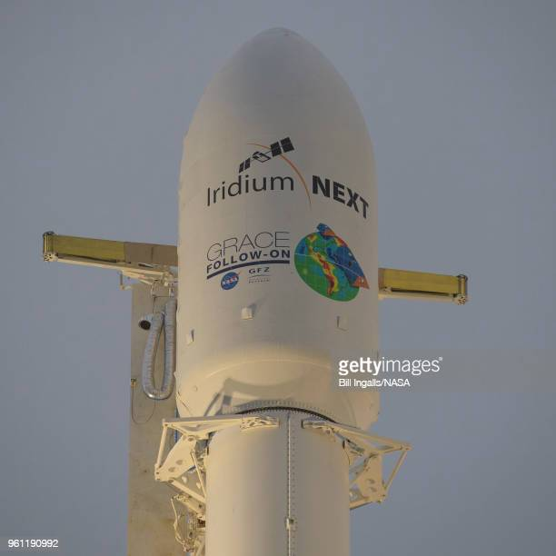 In this handout image provided by NASA the SpaceX Falcon 9 rocket is seen with the NASA/German Research Centre for Geosciences GRACE FollowOn...