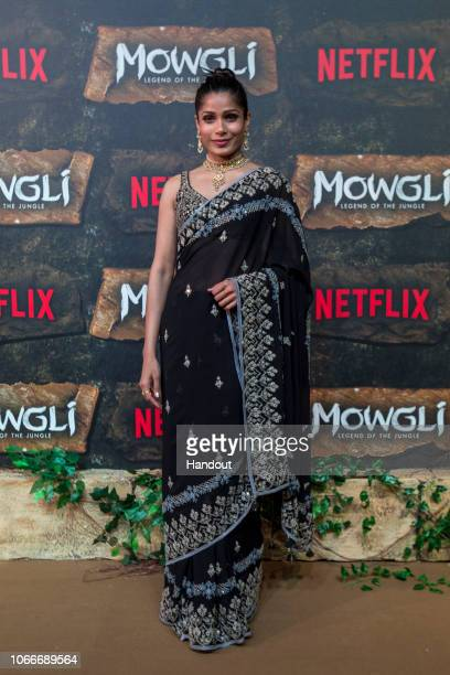 In this handout image provided by NETFLIX Freida Pinto attends the Mowgli World Premiere on November 25 2018 in Mumbai India