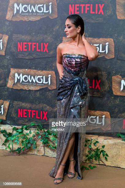 In this handout image provided by NETFLIX, Kareena Kapoor attends the Mowgli World Premiere on November 25, 2018 in Mumbai, India.