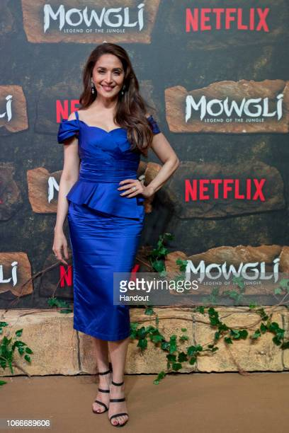 In this handout image provided by NETFLIX Madhuri Dixit attends the Mowgli World Premiere on November 25 2018 in Mumbai India
