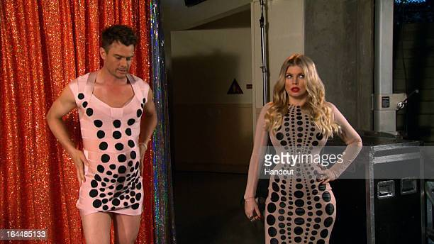 In this handout image provided by Nickelodeon Josh Duhamel and Fergie seen backstage at Nickelodeon's 26th Annual Kids' Choice Awards at USC Galen...