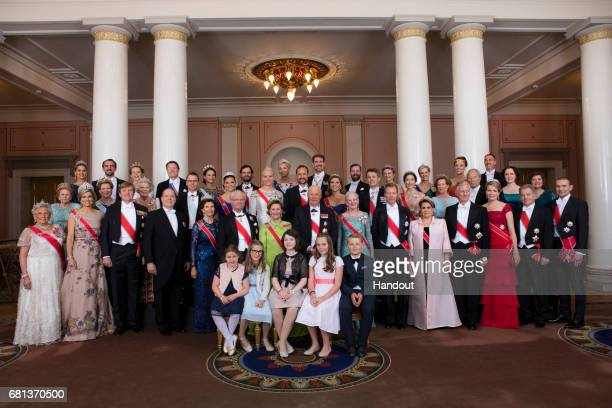 In this handout image provided by Norway's Royal Court, King Harald and Queen Sonja celebrate their 80th Birthday's with their family pictured H.K.H....