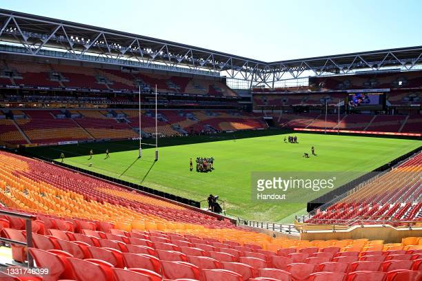 In this handout image provided by NRL Photos a general view is seen of an empty Suncorp Stadium during the round 20 NRL match between the Newcastle...