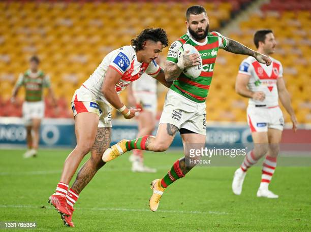 In this handout image provided by NRL Photos Adam Reynolds of the Rabbitohs wins the ball during the round 20 NRL match between the St George...