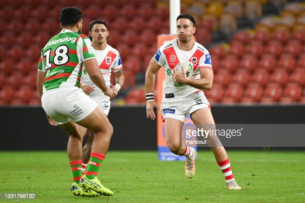In this handout image provided by NRL Photos Corey Norman of the Dragons in action during the round 20 NRL match between the St George Illawarra...