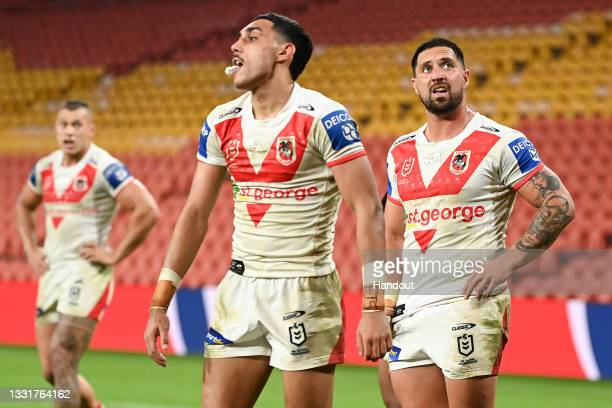 In this handout image provided by NRL Photos Dragons react during the round 20 NRL match between the St George Illawarra Dragons and the South Sydney...