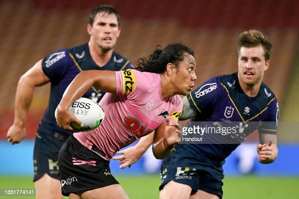 In this handout image provided by NRL Photos Jarome Luai of the Panthers in action during the round 20 NRL match between the Melbourne Storm and the...