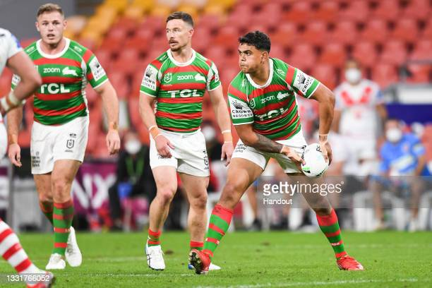 In this handout image provided by NRL Photos Mitchell Latrell of the Rabbitohs in action during the round 20 NRL match between the St George...
