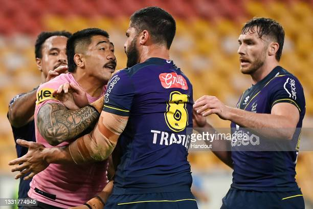 In this handout image provided by NRL Photos Moses Leota of the Panthers clashes with Jesse Bromwich of the Storm during the round 20 NRL match...