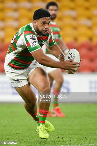 In this handout image provided by NRL Photos Taane Milne of the Rabbitohs in action during the round 20 NRL match between the St George Illawarra...