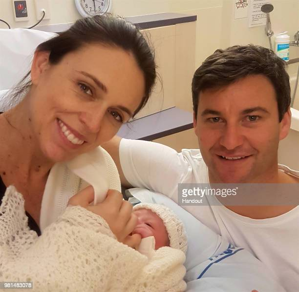 In this handout image provided by Office of the Prime Minister of New Zealand, New Zealand Prime Minister Jacinda Ardern and partner Clarke Gayford...