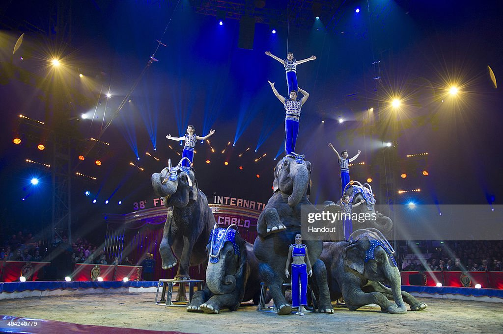In this handout image provided by Palais Princier, performers take part in the 38th International Circus Festival on January 21, 2014 in Monte-Carlo, Monaco.