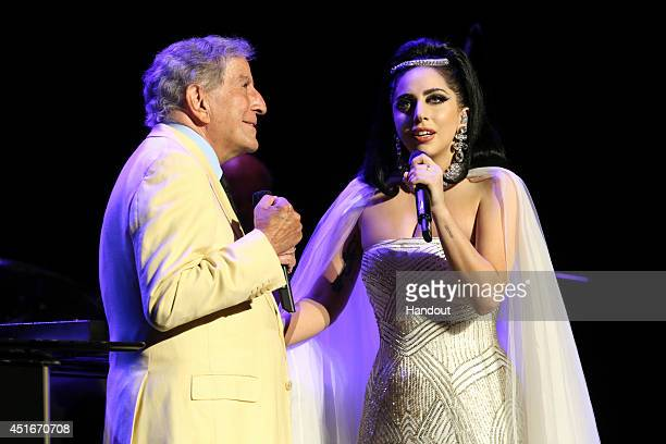 In this handout image provided by Patrick Beaudry,Tony Bennett and Lady Gaga jazzed it up at the Montreal Jazz Festival on July 1, 2014 in Montreal,...