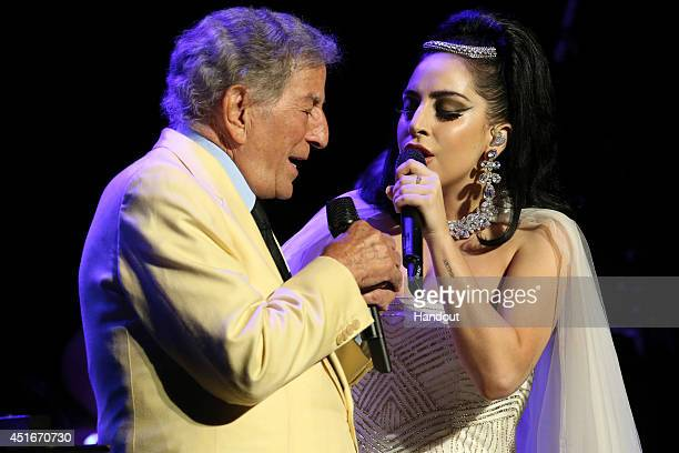 In this handout image provided by Patrick BeaudryTony Bennett and Lady Gaga jazzed it up at the Montreal Jazz Festival on July 1 2014 in Montreal...