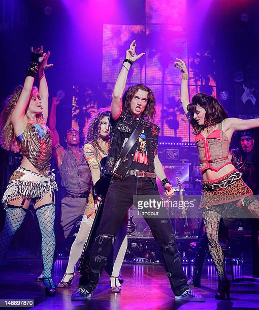 In this handout image provided by Paul Kolnik Justin Matthew Sargent as 'Drew' performs in the fivetime Tony nominated musical 'Rock of Ages' at The...