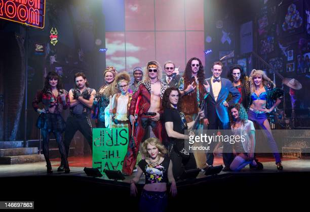 In this handout image provided by Paul Kolnik the cast of the Broadway musical Rock Of Ages perform in the fivetime Tony nominated musical at The...