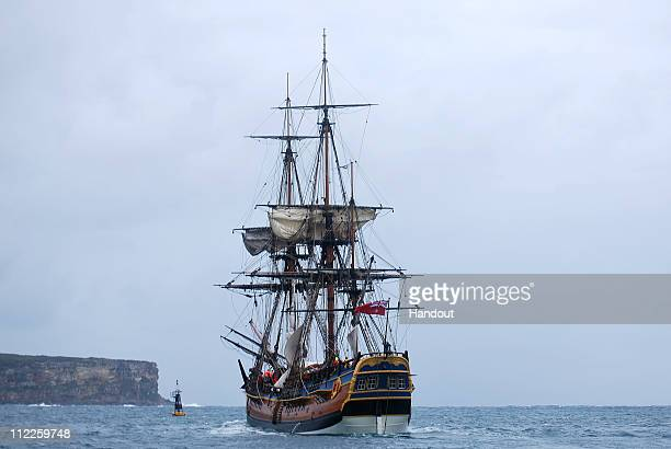 In this handout image provided by Perth 2011 HMB Endeavour the replica of Captain James Cook's ship is farewelled from Sydney Harbour on April 16...