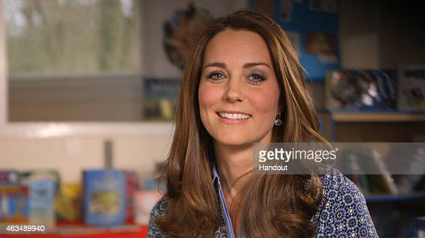 In this handout image provided by Place2Be, Catherine, Duchess of Cambridge and Royal Patron of Place2Be, is seen in a video message supporting...