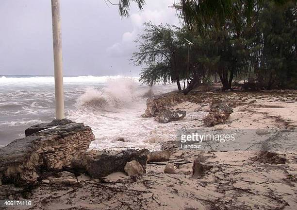 In this handout image provided by Plan International Australia debris is left by a strom surge after flood waters moved inland March 14 2015 on the...