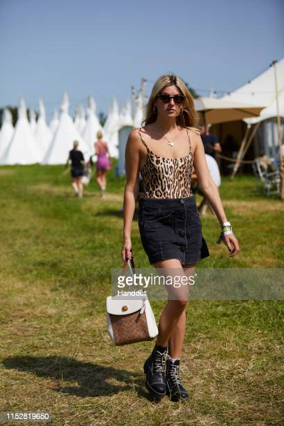 In this handout image provided by PMK BNC celebrity sighting of Camille Charriere at Glastonbury Festival 2019 on June 29 2019 in Glastonbury England