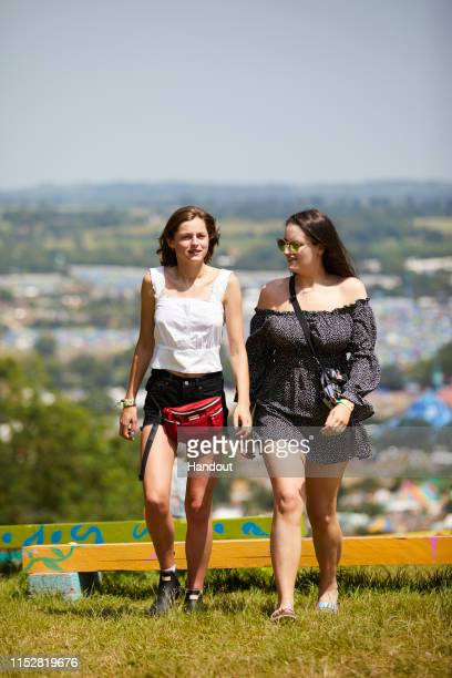 In this handout image provided by PMK BNC celebrity sighting of Emma Corrin at Glastonbury Festival 2019 on June 29 2019 in Glastonbury England