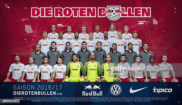 In this handout image provided by RB Leipzig Yussuf Poulsen Stefan Ilasanker Lukas Klostermann Davie Selke Atinc Nukan Marcel Halstenberg Willi Orban...