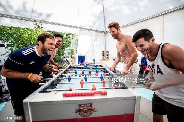 In this handout image provided by Red Bull Alessandro De Rose of Italy Sergio Guzman of Mexico and Andy Jones and Steven LoBue of the USA play table...
