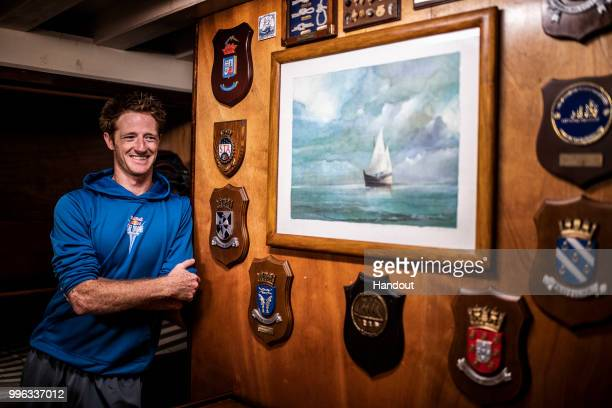 In this handout image provided by Red Bull Andy Jones of the USA below decks on the caravel Vera Cruz prior to the third stop of the Red Bull Cliff...