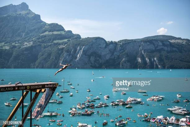 In this handout image provided by Red Bull Andy Jones of the USA dives from the 27 metre platform during the first competition day of the fourth stop...