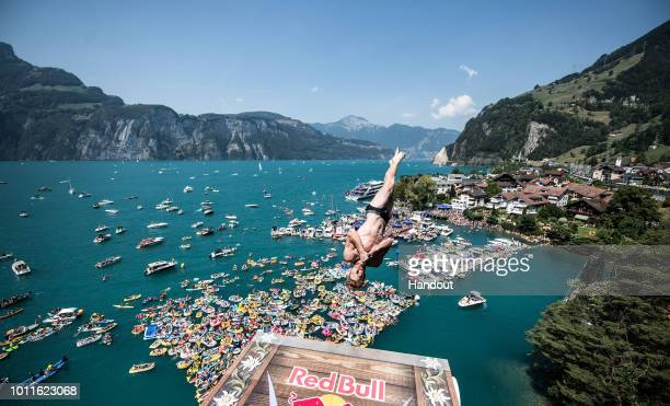 In this handout image provided by Red Bull Andy Jones of the USA dives from the 27 metre platform during the final competition day of the fourth stop...