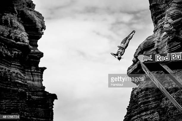 In this handout image provided by Red Bull Anna Bader of Germany dives from the 20 metre platform during the fifth stop of the Red Bull Cliff Diving...